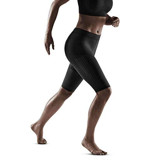 CEP Pantalones cortos de compresión 3.0 para mujer | Pantalones cortos de running con compresión para mayor estabilidad en color negro | Talla V