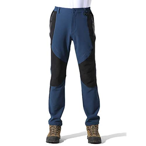 UPON HIKING Men Outdoor Soft Shell Waterproof Thin Fleece Trousers