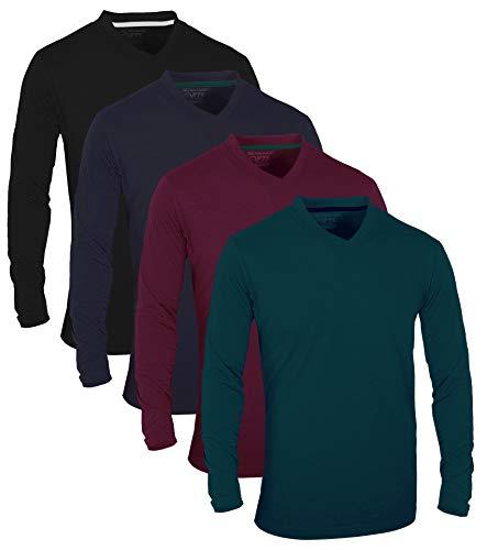 FULL TIME SPORTS® Tech 4 Pack Assorted langärmlige, lässige Top-T-Shirts mit V-Neck, XX-Large - Forest Grün Schwarz Marine Navy