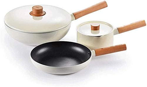 TYX-SS Kitchen Induction Stock Pot Pan Sets Cookware Set Flat-Bottomed Non-Stick pan with lid Wooden Handle Aluminum Three-Piece Set