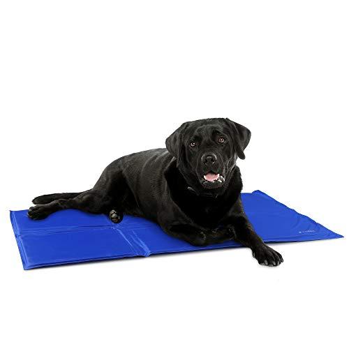 Navaris Alfombra de enfriamiento para Mascotas - Manta refrescante 50x90cm para Perro Gato - Alfombrilla de refrigeración Azul Oscuro