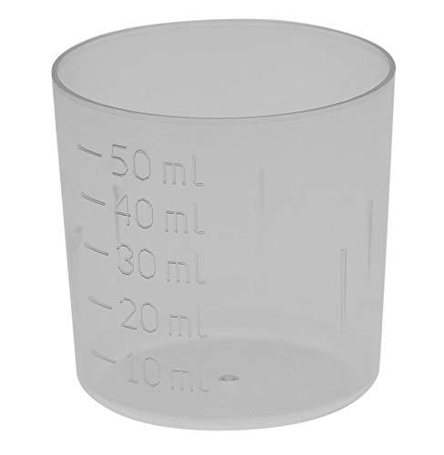Kleiner Messbecher 50 ml, mit 10 ml Schritten, kleiner Dosierbecher Medikamenten-Becher, Kosmetex, 50 ml Messbecher