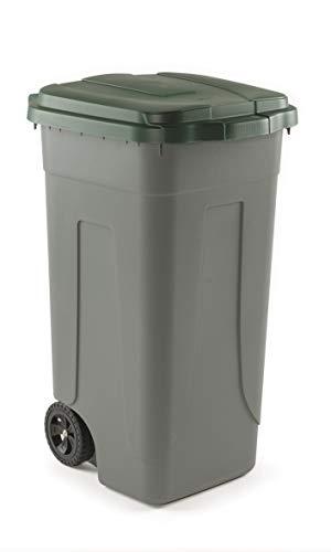 Mobil Plastic Bidone Raccolta differenziata Lt. 100 con ruote - Fondo grigio e Coperchio Verde