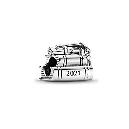 ARONTIME Regali di laurea per lei 2021, in argento Sterling S925, braccialetto con ciondoli per libri di laurea per amici, donne, ragazze, figlia