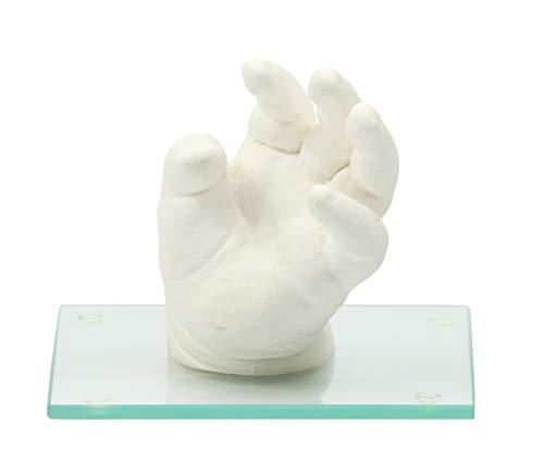 Lucky Hands 3D-Abformset ohne Zubehör | Handabdruck, Gipsabdruck (mit Glassockel 10 x 10 cm)