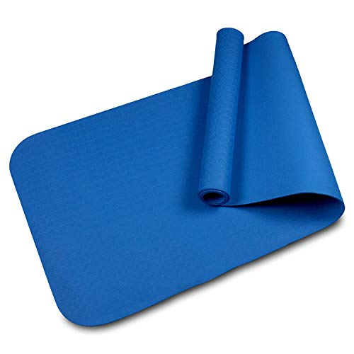 VELLORA Yoga Mat Anti skid Yogamat for Gym workout and flooring exercise - Long size yoga mate for men women (Blue-6MM)