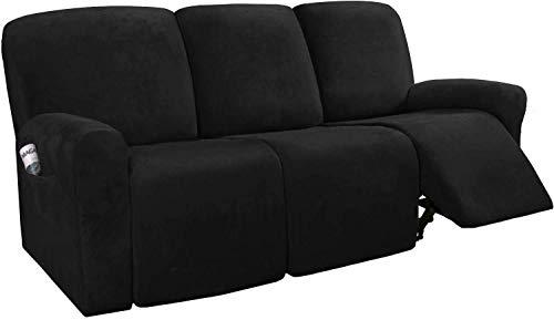 HYLDM Funda de sofá reclinable de Terciopelo elástico de 8 Piezas, Fundas de sofá reclinables para sofá de 3 plazas, Fundas de Muebles para sillón reclinable con Bolsillo Lateral, Ajuste