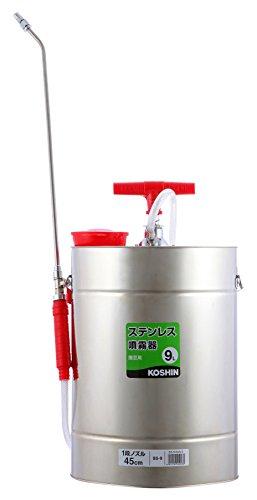 工進(KOSHIN) 肩掛け式 ステンレス 手動 噴霧器 タンク 9L SS-9 45cm ノズル 自在 1頭口 噴口 直射 霧状 ボールコック 流量 調整 消毒 防除