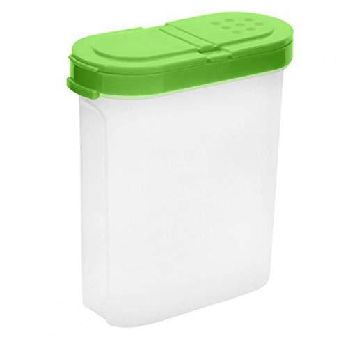 Nicedier Condimento contenedor Caja de Especias Tarro de condimentos de Almacenamiento de plástico Transparente con Suministros de Cocina Tapas Dobles de 250 ml Verde Artículos para el hogar