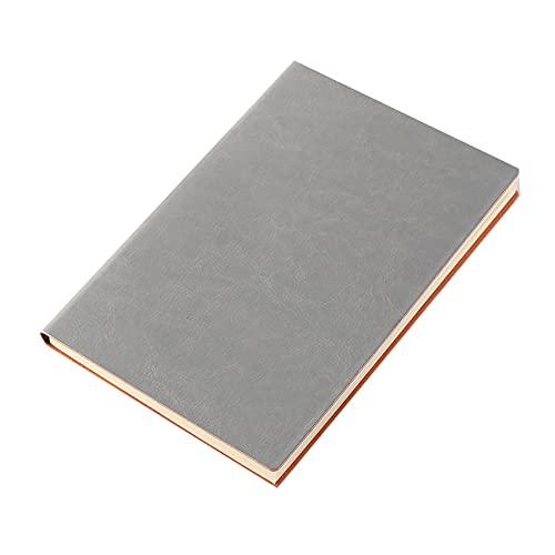 FACHAI Bloc de notas con cubierta de piel sintética, rayas horizontales, planificador semanal, bloc de notas, planificador diario, papel de alta calidad, 21 x 14,5 cm, color gris