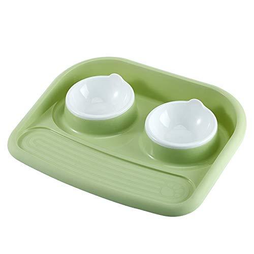 8in1 Hundenäpfe Kunststoff Haustier Doppel Spritzwassergeschützt Auslaufsichere Katze Hundesnack Reisnahrung Fütterungszubehör Tablett,Green