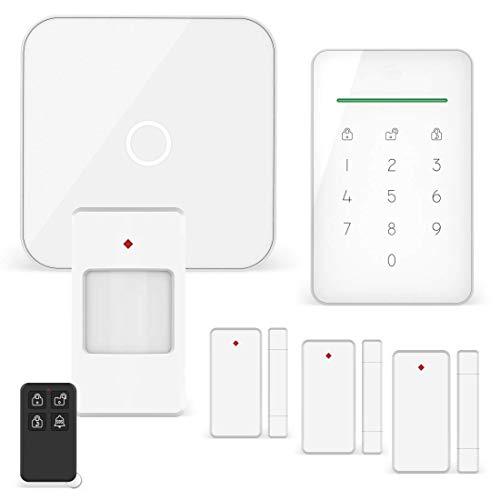 ELRO AS90S Home+ Smart Alarmanlage-WiFi-GSM Funktion-Bestens getestet-Mit Basisstation, Bedieneinheit, Bewegungsmelder, 3X Tür-/Fensterkontakt und Funk Key Ring, Komplette