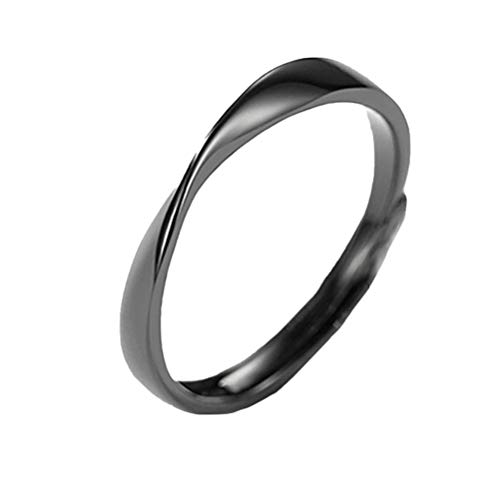 Happyyami Moda Mobius Ring S925 Anillo de Pareja de Plata Anillo de Promesa de Boda Anillo de Apertura Relación Anillo de Dedo para El Día de San Valentín