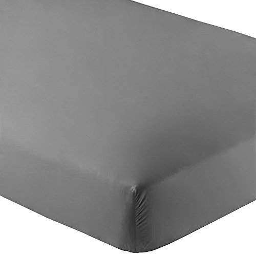 Bare Home Fitted Bottom Sheet Premium 1800 Ultra-Soft Wrinkle Resistant Microfiber, Hypoallergenic, Deep Pocket (Queen, Grey)