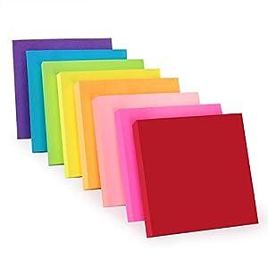 ZCZN Notas Adhesivas,Pack de 16 Bloc de notas,76 x 76 mm,100 Hojas por Bloc,Total de 1600PCS,8 Colores