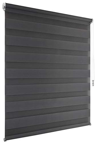 Doppelrollo 130x200cm anthrazit Klemmfix ohne Bohren Vario Seitenzug Duorollo Zebrarollo Fenster