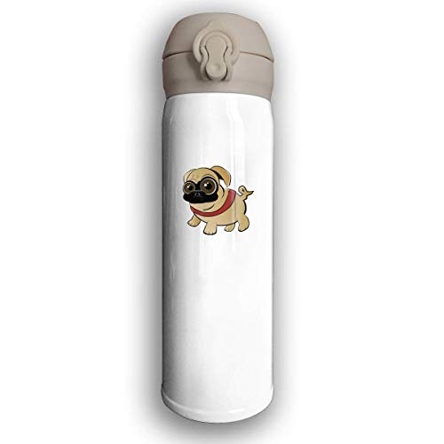 Bestqe Bottiglia Acqua in Acciaio Inox,Borraccia Termica Isolamento Sottovuoto a Doppia Parete Funny Cartoon Pug Stainless Steel Leak Proof Travel Coffee Mug 17 Oz