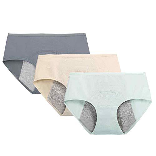 Inlefen Mujer Ropa Interior del período Menstrual de Color sólido Cintura Media Transpirable Algodón a Prueba de Fugas Hipster Bragas 3Pack