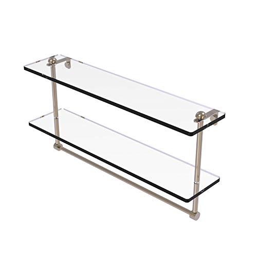 Allied Brass RC-2/22TB 22 Inch Two Tiered Integrated Towel Bar Glass Shelf, Antique Pewter