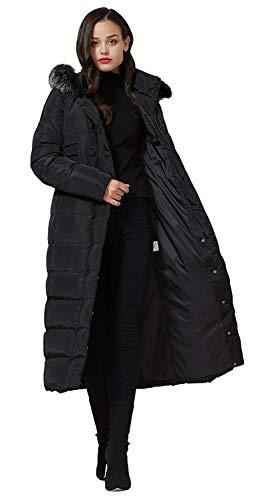 Molodo Women's Long Down Coat with Fur Hood Maxi Down Parka Puffer Jacket Large Black