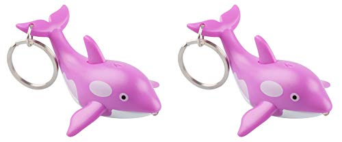 munkees 2X Schlüsselanhänger mit LED Licht und Sound, Tier-Motiv Sea Wal Fun Gadget, pink, 11129
