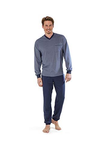 hajo Herren Pyjama Schlafanzug 50022 624 Denim/blau Klima Light, Größe:52-L