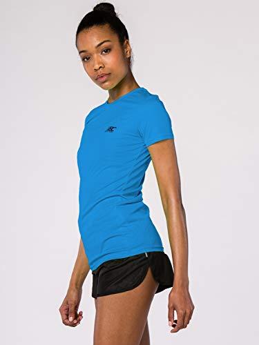 BODYCROSS Maillot Manches Courtes Col Rond Femme Paz Cyan Running, Jogging, Training - Léger, Respirant, Anti-Bactéries et Anti-Odeurs