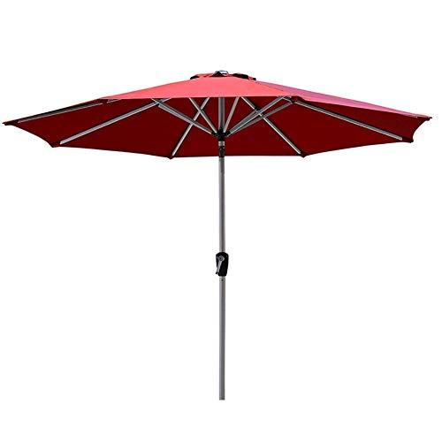 AWJ Sombrillas de jardín Paraguas de Patio Redondo Rojo, 8,9 pies / 2,7 m Sombrilla de Mesa de Mercado con botón de inclinación y manivela, Exteriores, Camping,