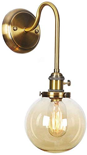 Waqihreu Aplique LED, Retro Industrial, Aplique con Pantalla de Cristal Transparente, lámpara de Noche para Dormitorio, Pasillo, balcón, cafetería, Aplique Decorativo, Estilo nórdico