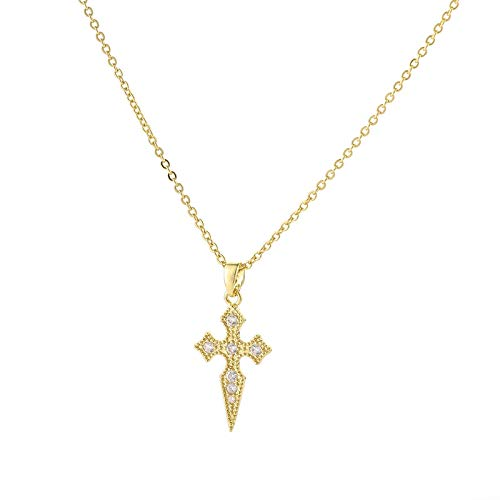 Fashion Cross Pendant Necklace Micro Pave Cubic Zirconia Gold Silver Chain Cross Necklace For Women Wedding Jewelry