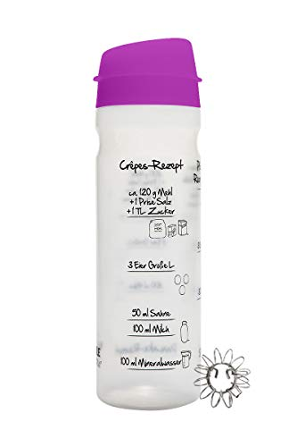 875ml-Pfannkuchen-Shaker (LILA) mit Rezeptaufdruck für Pancakes, Crêpes, Pfannkuchen und Flädle