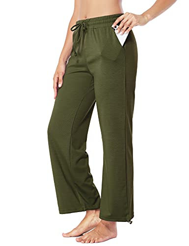 Fulbelle Running Pants for Women, Wide Leg Joggers Sweatpants Loose Fit Workout Yoga Athletic Clothes Ladies Ankle Pants with Elastic Waistband Lounge Pajamas Green Medium