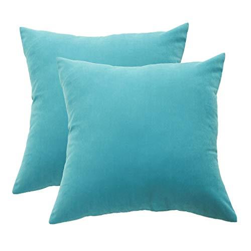 Mushanhun Suave Fundas para Cojines 45x45 cm (18x18 Pulgadas), Decoración Fundas de Almohada Cuadradas con Cremallera Invisible para Sala de Estar Dormitorio Sofá, Paquete de 2 – (Azul)