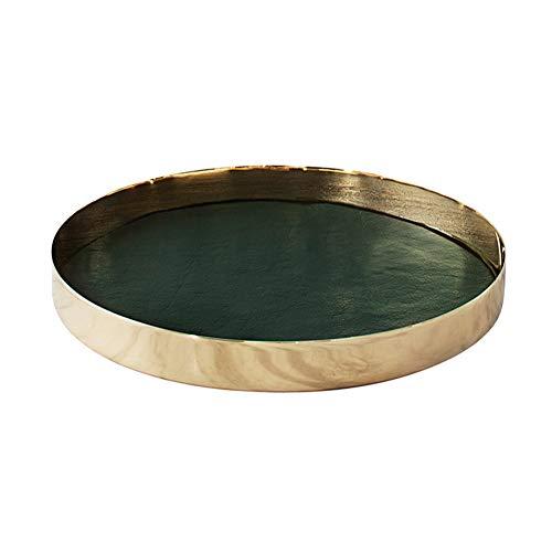 PuTwo Decorative Tray 12'' X 12'' Jewelry Tray Metal & PU Leather Vanity Tray Antique Perfume Tray Handmade Trinket Tray Ottoman Tray Catchall Tray for Dresser Bathroom Vanity - Gold, Hunter Green
