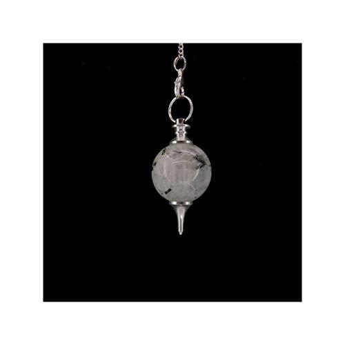 Pendulo Mermet con Piedra Luna baño de Plata y minerales Chakras Minerales y Cristales, Belleza energética, Meditacion, Amuletos Espirituales