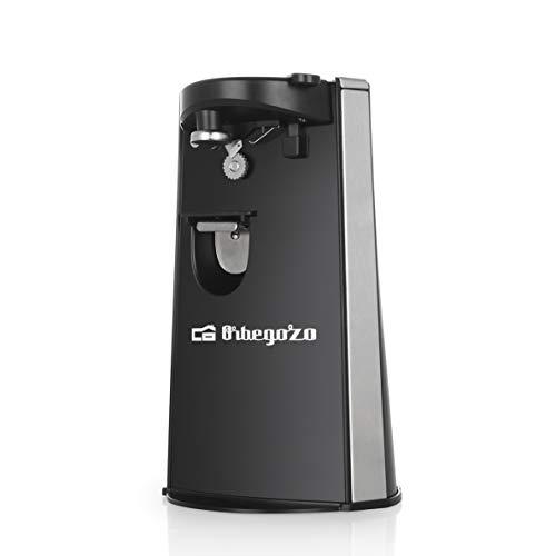 Orbegozo CU 6500 - Abrelatas eléctrico, incluye abridor de botellas y afilador de cuchillos, encendido automático por presión, 60 W de potencia