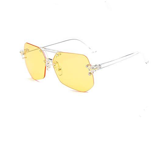 Ashtray Gafas Transparentes Grandes Montura de Gafas de Sol poligonales Irregulares sin Montura de Espejo Plano sin Montura,6