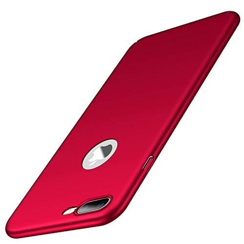 heevey Hülle Kompatibel mit Apple iPhone 7 Plus & 8 Plus   Ultra Dünne Hard-case Schutzhülle FeinMatt Anti-Fingerabdruck Rot