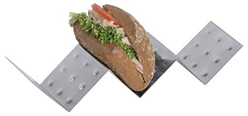 Snackablage (Snackwelle) aus Edelstahl, zum Ablegen von Brötchen, Döner und der Präsentation von Snacks/mit 3 oder 5 Fächern | ERK (A2 - Abm.: 57 x 8 x 5,5 cm)