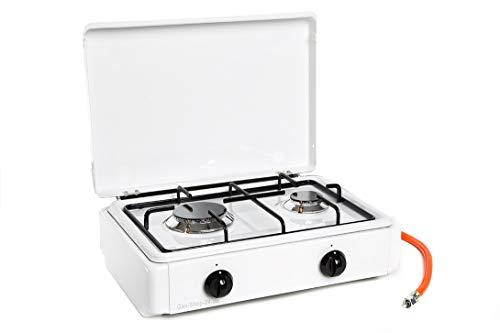 2 flammiger Propan Haushaltskocher/Gaskocher mit Gusstopfträger und Guss-Brennerdeckel emailliert/für den Innenraum zugelassen (Hockekocher, Kocher, Gastrokocher, Gasherd, Parker, Campingkocher)