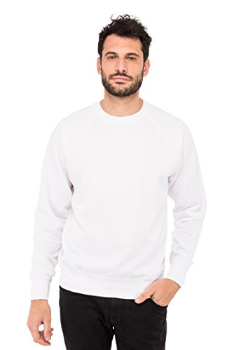 Fruit of the Loom Herren Sweatshirt Raglan Sporthemd, Weiß (White 30), Large