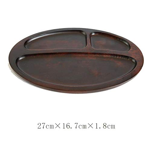 Family Needs Originative Whole Wood Pizza compartiment lade Format fruitschaal Brood Snack Breakfast Plate (Color : Walnut oval: 27cm*16.7cm*1.8cm)