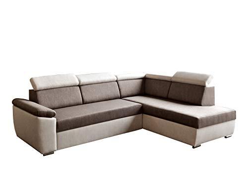 Ecksofa Sofa Eckcouch Couch mit Schlaffunktion und Bettkasten Ottomane L-Form Schlafsofa Bettsofa Polstergarnitur - MODENA (Ecksofa Rechts, Braun)