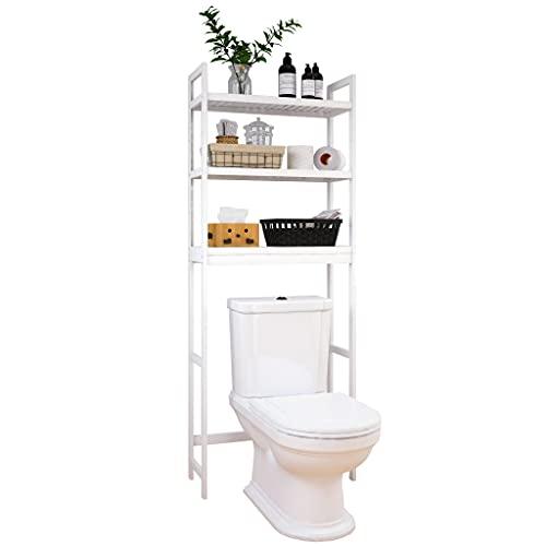SMIBUY Estante de Almacenamiento para baño, Estante Organizador de bambú sobre el Inodoro, Ahorro de Espacio para Inodoro Independiente con estantes Ajustables de 3 Niveles (Blanco)