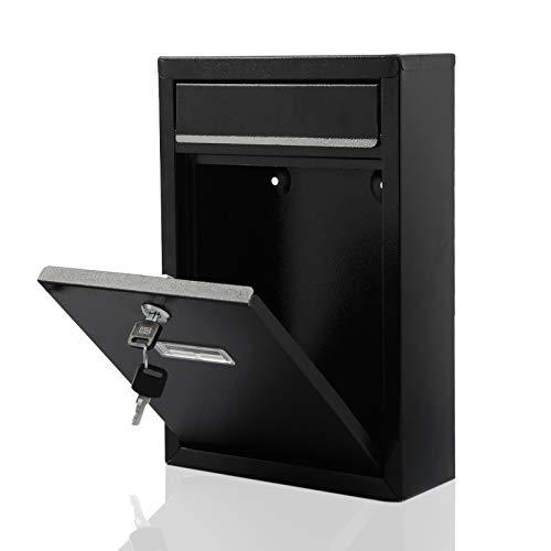 MorNon Buzón Correos Exterior Negro Buzones Correos Postales con Las Llaves para Cartas Y Correo Postal De Pared Espacios Reducidos