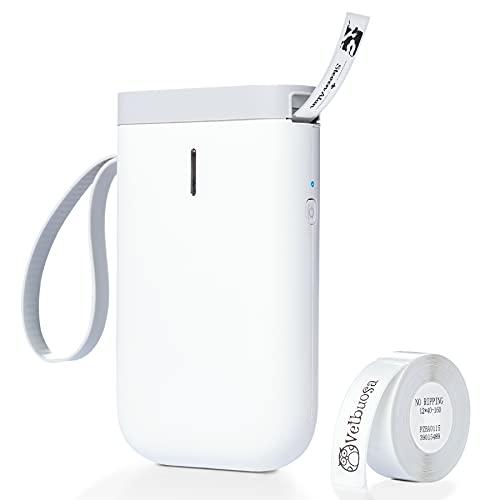 D11 Etikettiergerät Bluetooth, Vetbuosa Tragbarer Etikettendrucker Handheld, Beschriftungsgerät Tintenlose Aufkleber, Kompatibel Mit Android und IOS, geeignet für Flaschen(weiß, mit Etikettenrolle)