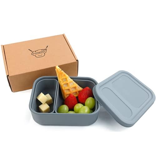 Silikon Brotdose Kinder - Eco Lunch Box - Bento Box Erwachsene, Kindergarten, BPA Frei, Geeignet für Mikrowelle, Spülmaschine (Dunkelgrau)