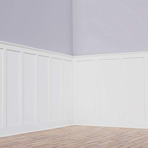 Ekena Millwork WPKP56X04DS Deluxe Shaker 8' Length PVC Wainscoting Kit, Heights up to 56