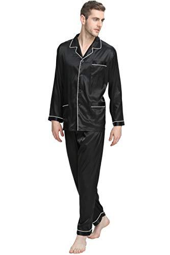 Herren Seide Schlafanzug Pyjama Schwarz X-Large
