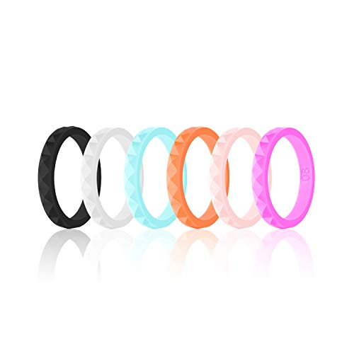 SANXIULY Womens Silicone Ring&Rubber Wedding Bands for Workout and Sports Width 3mm Pack of 6 Size 5